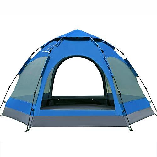 Rindasr Camping Zelt, 5-8 Personen großer Raum vollautomatische Doppelschicht-Außenzelt, Anti-Tear PU Oxford Tuch beschichtet, wasserdicht doppelseitig atmungsaktiv, Park Kletterstrandzelt