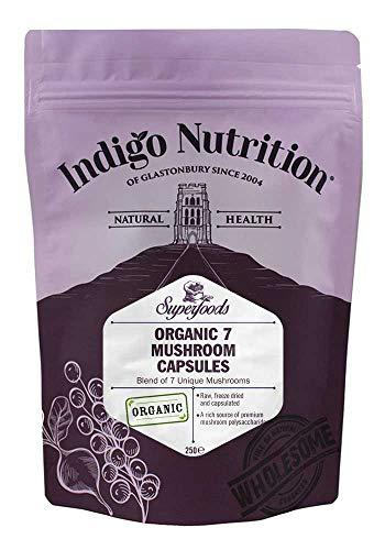 Indigo Herbs Organic 7 Mushroom Complex Capsules | 250 Vegan Caps | Vegan | No Additives & GMO Free
