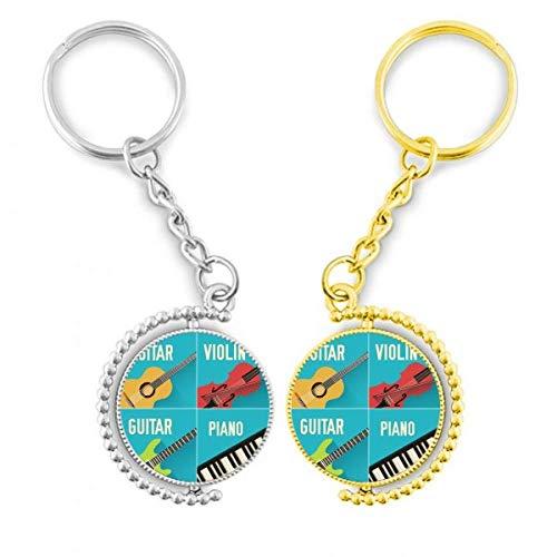 DIYthinker Gitarre, Violine Piano Kombination Modell Ring Metall vergoldet Tür – Schlüssel