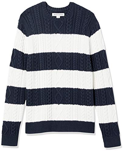 Amazon Essentials Men's Long-Sleeve 100% Cotton Fisherman Cable Crewneck Sweater, Navy/White Stripe, XX-Large