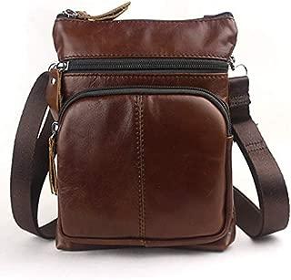 YXHM AU Men's Business Genuine Leather Bag Large-Capacity Male Handbag Shoulder Bag (Color : Red Brown)