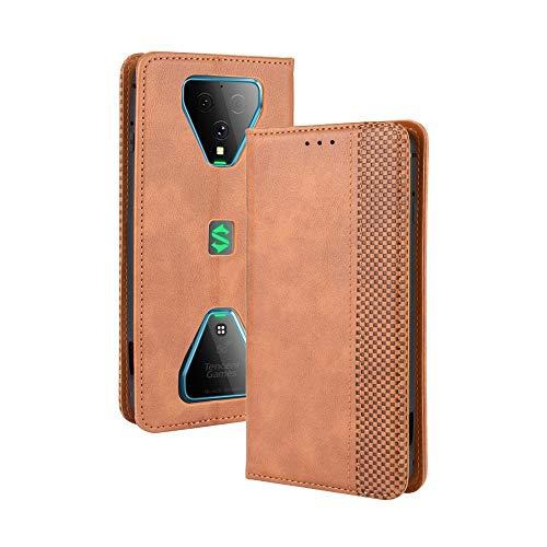 LAGUI Kompatible für Xiaomi Black Shark 3 Hülle, Leder Flip Hülle Schutzhülle für Handy mit Kartenfach Stand & Magnet Funktion als Brieftasche, braun