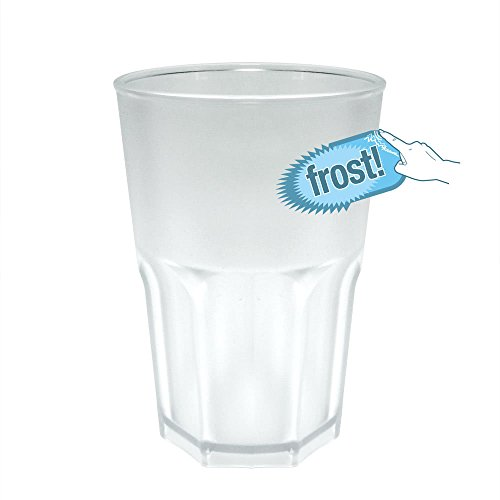 DoimoFlair Cocktailglas aus Hartes Kunststoff Cocktailbecher Plastik Transparent Frost Optik 40 cl Set 5 STK.