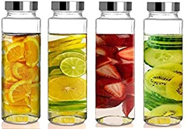 WATER BOTTLES - Clear Glass Water Bottles Set Wide Mouth Glass Bottles with Lids - for Juicing, Smoothies, Beverage Storage S