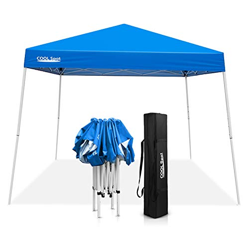 COOL Spot 10' x 10' Slant Leg Pop Up Canopy Tent (with 64 Square Feet of Shade) One Person Set-up Outdoor Instant Folding Shelter (Blue)
