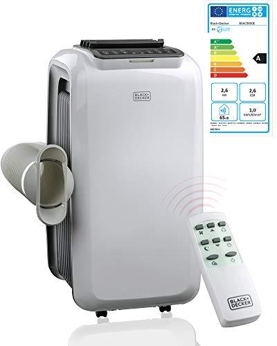 Klimaanlage 3in1 Mobiles Klimagerät Black+Decker 2,6KW - 9000 BTU Kühlleistung inkl. Fernbedienung, Kältemittel R290, Ventilator, Luftentfeuchter mit Swing Funktion, Sleepfunktion Nachtmodus