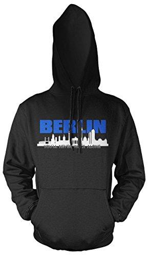 Berlin Skyline Männer und Herren Kapuzenpullover | Fussball Ultras City Geschenk | M2 FB (XL, Schwarz)
