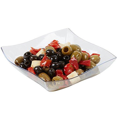 3 eleganti ciotole quadrate in plastica rigida trasparente   ciotole riutilizzabili   ciotole in plastica per feste da 950 ml