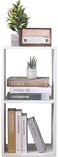Etnicart Doble cubo de decoración de almacenamiento librería estantería blanca 35 x 30 x 70 cm madera MDF estantería diseño oficina entrada salón