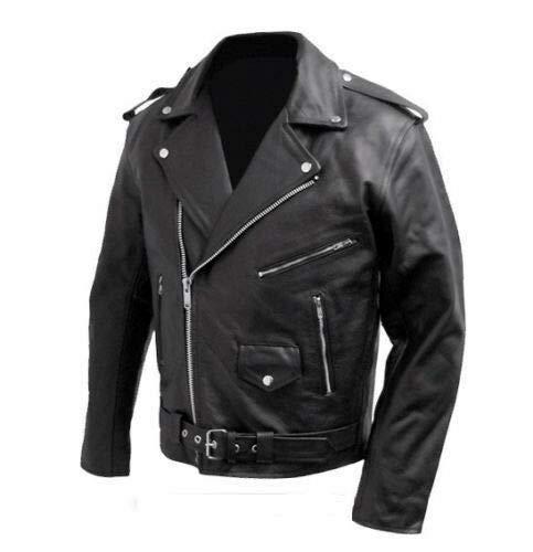 BIESSE - Giacca chiodo da motociclista in vera pelle bovina, stile Marlon Brando (Nero, XXL)
