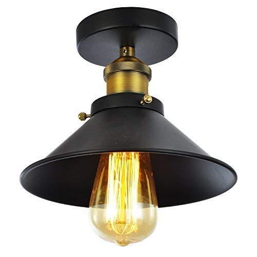 Plafonnier Industriel Retro Vintage Lustre Abat-jour Ø26cm en Métal, Design Luminaire Suspension Edison Loft Style, Noir