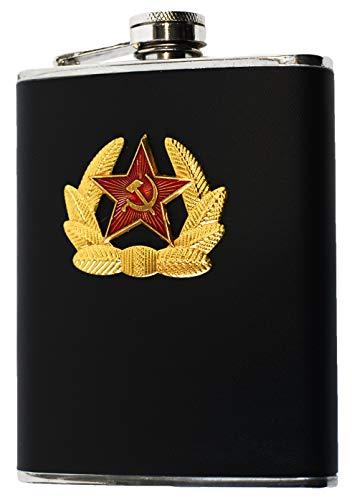 Fiaschetta Bottiglietta Vuota in Acciaio Inox con Stemma URSS da 227 ml (8 Once). Nero. Idea Regalo