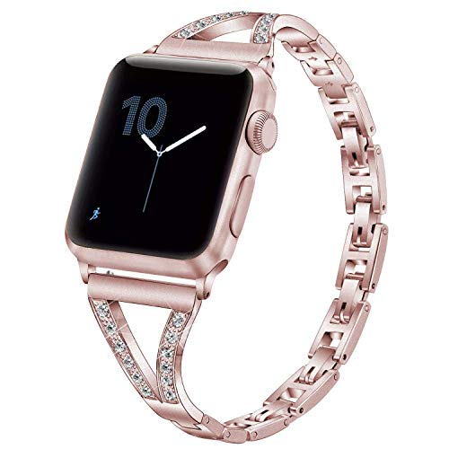 PUGO TOP Cinturino Compatible for Apple Watch Series 4 3 2 1,Cinturino Intercambiabile Regolabile in Metallo con Strass per iWatch (38mm/40mm, Oro Rosa)