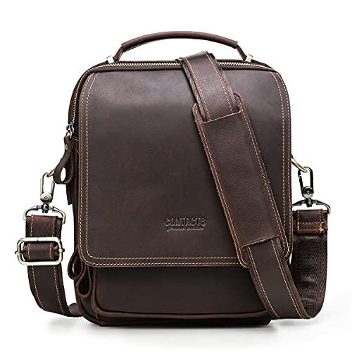 CONTACTS - Bolso bandolera de piel de grano completo para hombre, compatible con tabletas de 7,9 pulgadas, bolsa de mano con llavero para tarjetas, bolsa cruzada, color café