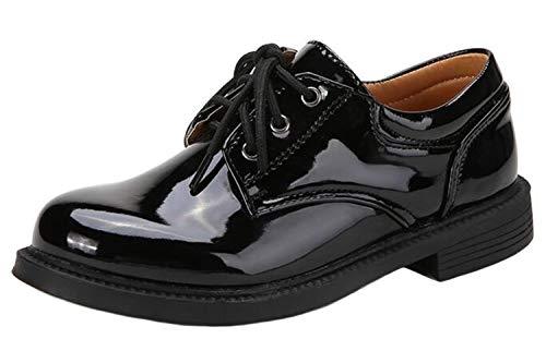 DADAWEN Boys Lace up Oxfords School Uniform Shoes Black 11 UK Chil