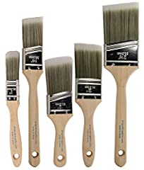 """Paint Brush Set Includes 1 Ea of 1"""" Flat, 1-1/2"""" Angle, 2"""" Stubby Angle, 2"""" Flat & 2-1/2"""" Angle Paint Brushes For Interior Or Exterior Projects. Use Angle Sash Paint Brush For Cutting Crisp Lines. Professional Results On Walls, Trim, Cabinets, Doors,..."""
