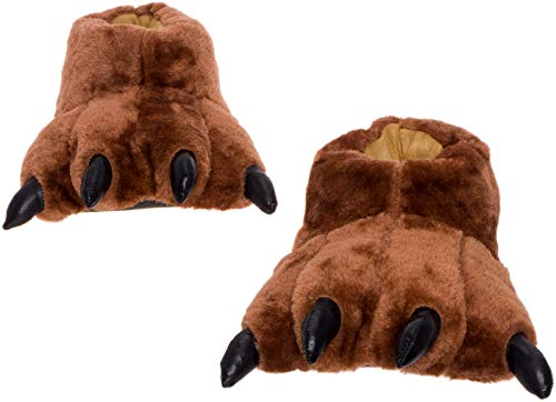 Silver Lilly Dark Brown Bear Paw Slippers - Plush Novelty Animal House Shoes w/Comfort Foam (L)