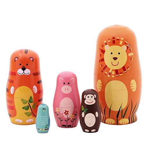 WyTosa Tiere-Muster-Puppe authentische russische Holz Matrjoschka-Puppen für Spielzeug-Geschenk-Hauptdekoration OrnamentVerschachtelung Matroschka Holz Russian Nesting Dolls Kinder Spielzeug Geschenk