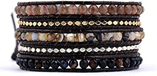 New Design Cool 5 Strands Mixed Stones Gold Silver Color Beads Leather Wrap, Vintage Necklace - Wedding Supplies, Stretch Bracelet, Chain Metal Necklace, Fancy Necklace, Black White Necklace