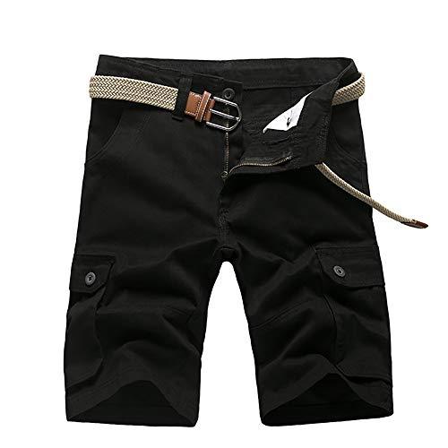 YLXD Short d'été pour Homme Short Cargo Court Loisirs Bermuda Multi Poches Urban Classic Short en Coton Coupe Ample Pantalon Demi-Long Respirant
