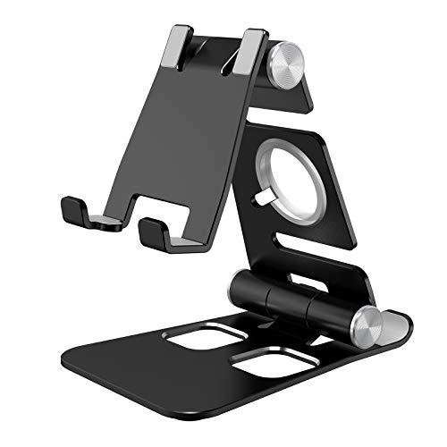 Hianjoo Soporte Móviles, Tableta Metal Soporte, 3 in 1 Portátil Plegable Holder para Teléfono Celulares, Reloj Dock, Ángulo Ajustable Base Compatible con Switch Máquina de Juegos, Negro