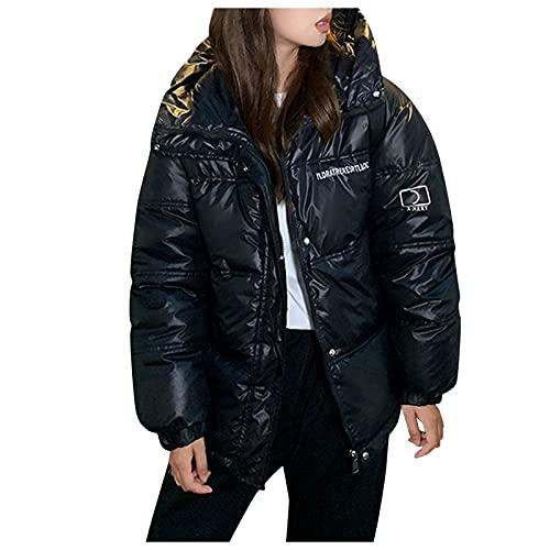 NHNKB Chaqueta de invierno para mujer, chaqueta de plumón, corta, ligera, acolchada, de algodón, Negro , M