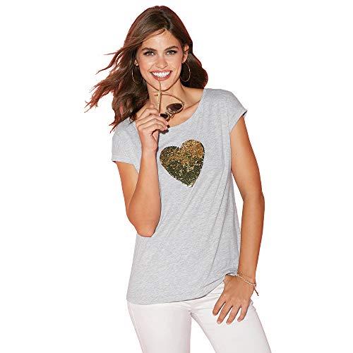 VENCA T-Shirt con Cuore di Paillettes Bicolor - 022766,Grigio VIGORÉ,XS