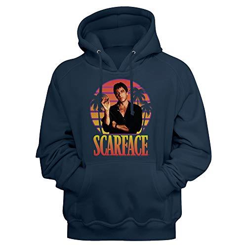 Scarface Kultige 80er Jahre Movie Tony Montana Erwachsene Langarm Hoodie Sweatshirt - Blau - Large