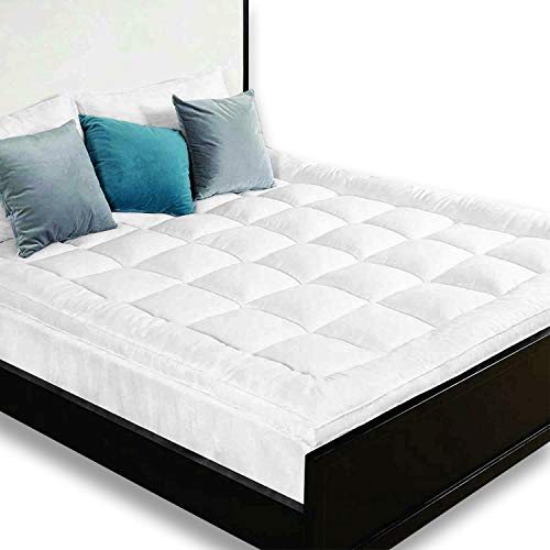 HANSON AND LANGFORD Microfiber Mattress Topper New Hotel Quality 3D Heavy Fill Ball Fiber Bubbles Super Soft 3' Inch Thick Pad Protector Stitched Box and Elasticated Corner Straps (White, Super King)