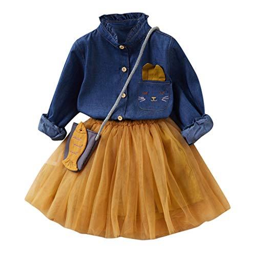 2-7 Años,SO-buts Pequeños Bebé Niña Otoño Invierno Falda De Tul + Botón De Manga Larga Camiseta Vaquera + Bolso Trajes De Princesa Conjunto Vestidos De Novia De Fiesta (Amarillo,2-3 años)