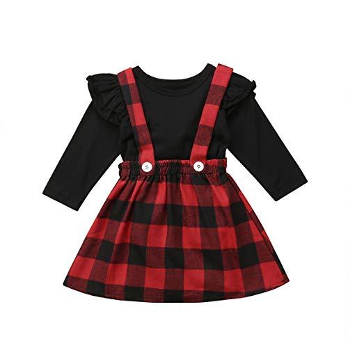 Baby Mädchen Langarmshirts + Hosenträger Plaid Druck Rock schwarz Top Outfit Set für 3M-4Y (6-12M, Schwarz-Rot)