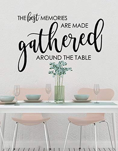 Yilooom Kitchen Wall Decal, The Best Memories are Made Gathered Around The Table Decal, Farmhouse Style Wall Decor, Kitchen Decor, Creating Memories 12 Inch in Width