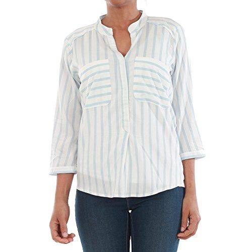 Vero Moda Damen Bluse VMERIKA STRIPE 3/4 SHIRT, Größe:M, Farbe:Snow White StripesCASHMERE BLUE (10168581)