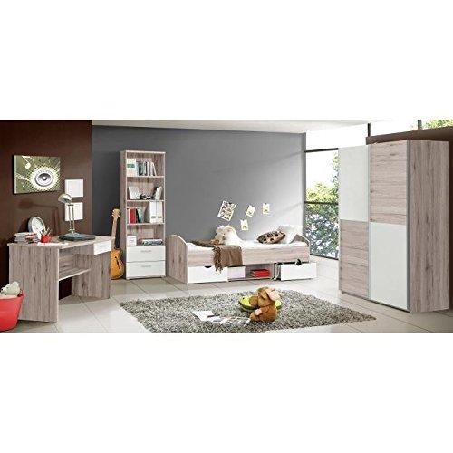 LUPO Chambre enfant complete style classique décor chene cendré et blanc mat - l 90 x L 190 cm