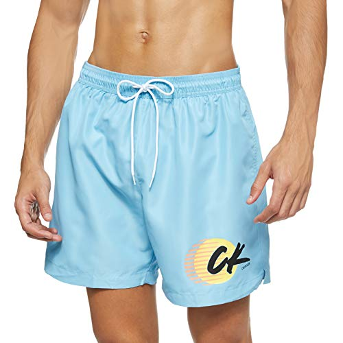 Calvin Klein Herren Medium Drawstring Badehose, Blau (Air Blue CAE), Small