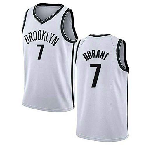 LITBIT Baloncesto de los Hombres NBA Jersey Nets 7# Durant 2021 Transpirable Secado rápido Resistente al Desgaste Vestima sin Mangas Top para los Deportes,Blanco,M