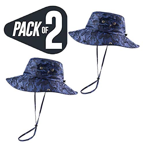 KOOLSOLY Breathable Wide Brim Boonie Hat Outdoor Waterproof UPF 50+ Sun Protection Mesh Safari Sun hat for Travel Fishing …