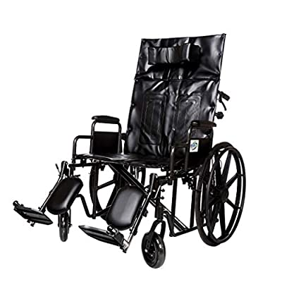 """Wheelchair Reclining Back Heavy Duty Bariatric Desk Arm Padded Detachable with Cushioned Head Immobilizer and ELR (450lb) (22"""" seat) from Healthline Trading"""
