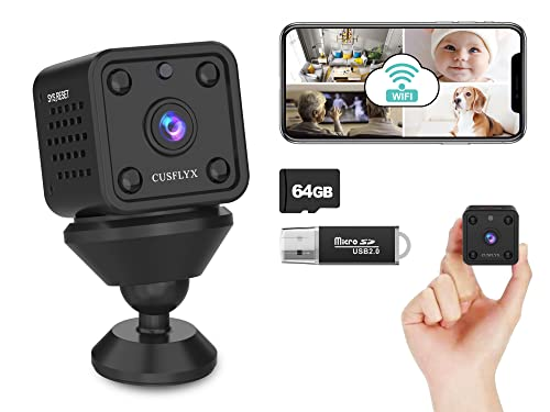 【Upgrade 800 mAh】 Cloud WiFi Mini Kamera Mit 64G TF-Karte - CUSFLYX 1080P Kamera Rechargeable Tragbar Nanny Haustier Büro Garage Heim überwachungskamera IR Nachtsicht Bewegungserkennung IOS/Android