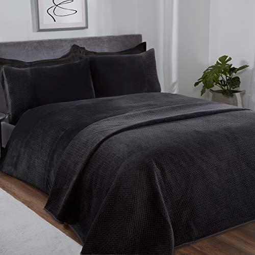 Sleepdown Pinsonic - Juego de Funda de edredón y Funda de Almohada (135 x 200 cm), diseño geométrico de Terciopelo Negro