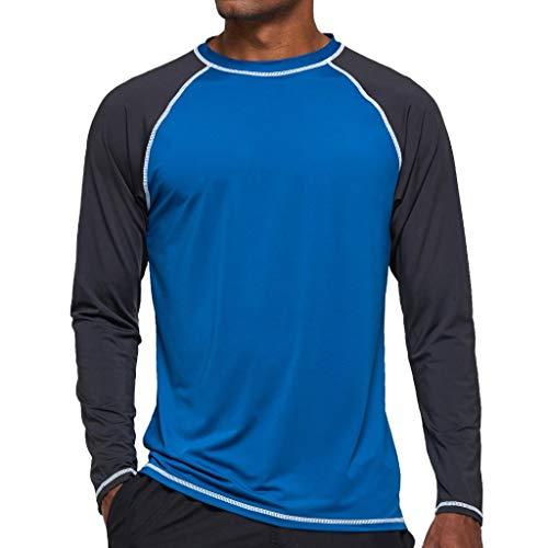 Arcweg Rashguard Homme Manches Longues M-3XL T-Shirt Anti-UV UPF 50+ Sechage Rapide Léger pour Surf Natation Plongée Plage Paon 2XL[EU] Tour de Poitrine: 114-119cm