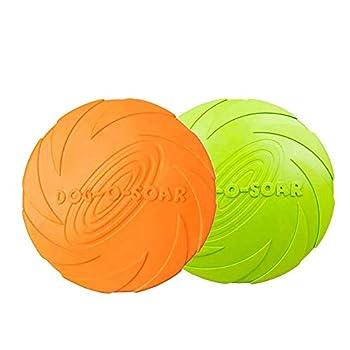 YOUYIKE Frisbees pour Chien,2 Packs Disque Chien,Frisbee Jouet pour Chiens,Frisbee Chien en Caoutchouc pour Jeux Sport Exercice Activité et Jeu en Plein,pour Petits et Moyens Chiens.(Vert, Orange)