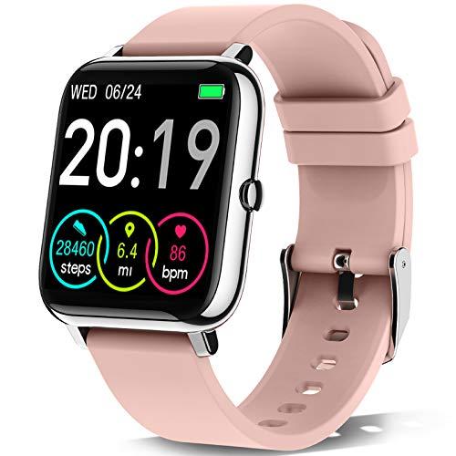 Rinsmola Smartwatch, Reloj Inteligente Mujer de Pantalla Táctil, Pulsera Actividad Inteligente con Pulsómetro, Monitor de Sueño, Reloj Digital Calorías Podómetro Impermeable IP67 para Android e iOS