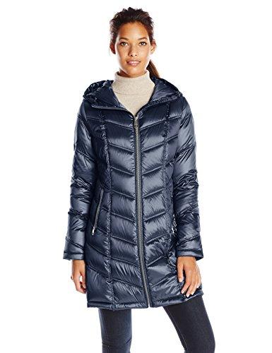 Calvin Klein Women's Plus-Size Mid-Length Packable Chevron Down Coat Plus, Shine Dark Indigo, 3X