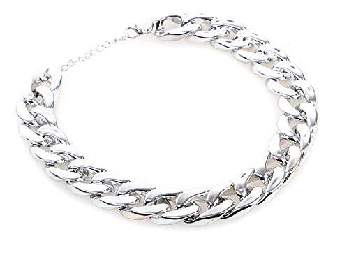 Yisatann Perros Collares Acero Cadena de Metal Collares para Perros Collar de Perro de Cadena de Acero Inoxidable de Metal Ajustable Collar de Mascota-Blanco