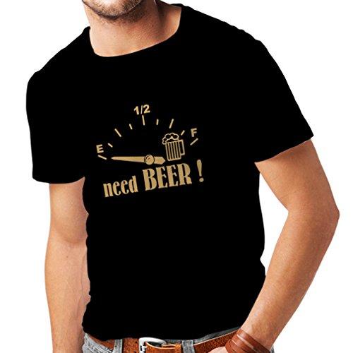 lepni.me Camisetas Hombre ¡Necesito más Cerveza! Divertido Regalo, Bebida - Bar - Lemas Fiesta (XX-Large Negro Oro)