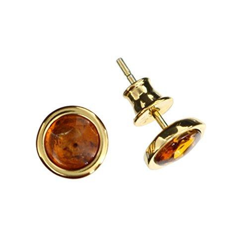 Kleine runde Ohrstecker aus 925/000 Sterling Silber vergoldet mit Bernstein von Artisana-Schmuck