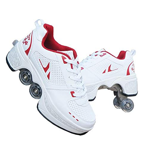 MLyzhe Deformation Roller Shoes Male and Female Skating Shoes Adult Children's Automatic Walking Shoes Invisible Pulley Shoes Skates with Double-Row Deform Wheel Red