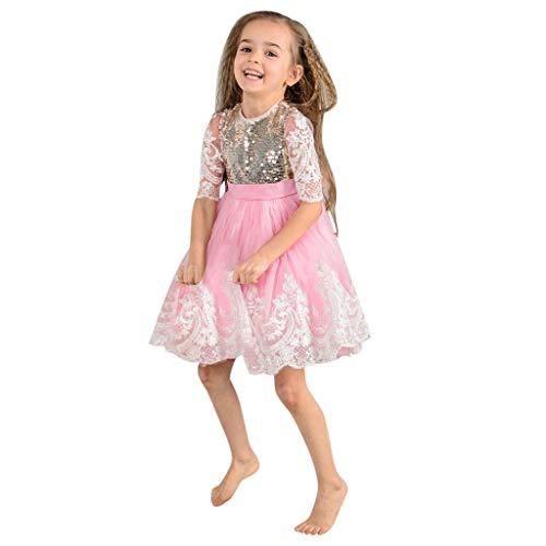 HEETEY HEETEY Kleid Rock Kleinkind scherzt Baby-Mädchen-Spitze-Pailletten-Tüll Party Pageant Hochzeit Prinzessin Kleider Sommerkleid Outfit Kleidung