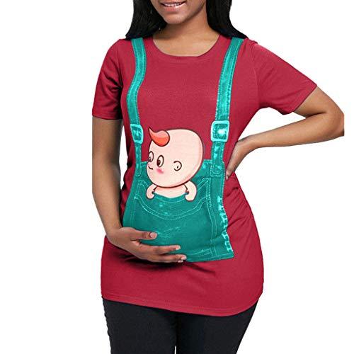 Witzige Schwangere Maternity Damen Umstandsmode T-Shirts Schwangere Damen Lustige Spähen Baby Gedruckt Umstandshirt Kurzarm Baumwolle T-Shirt